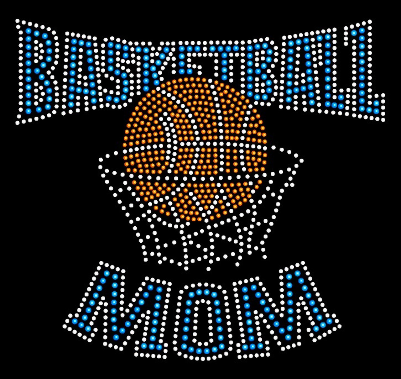 Basketball Mom Net Blue Rhinestone Transfer Iron On