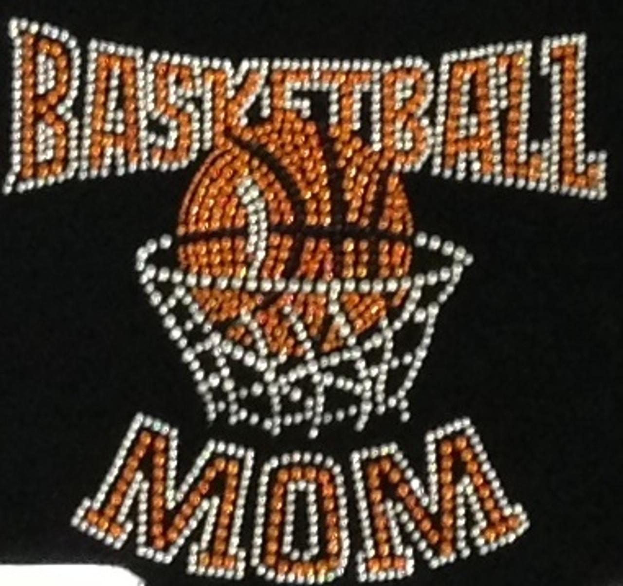 Basketball Mom Net Orange Rhinestone Transfer Iron On