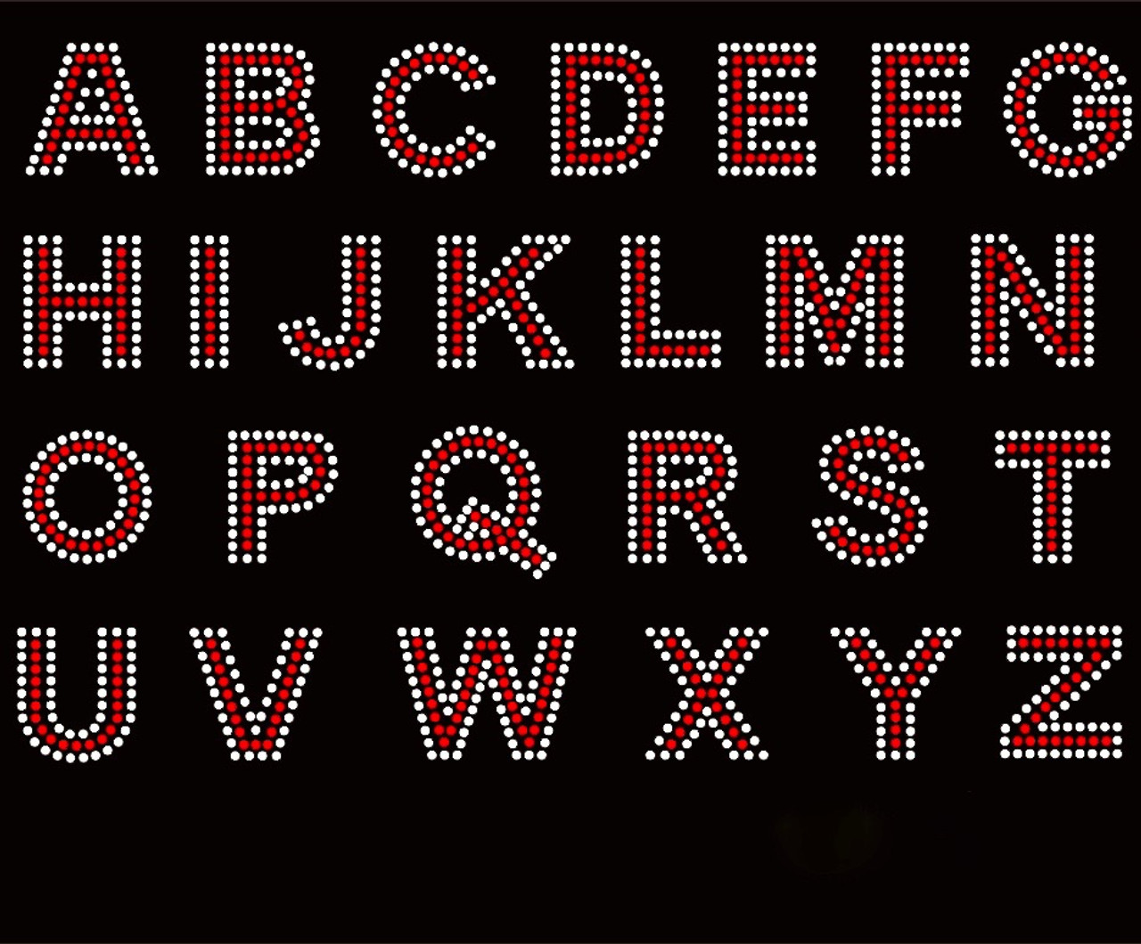 1 5 Bold Letter Alphabet Arial Font Red With Clear Outline Rhinestone Transfer Texas Rhinestone