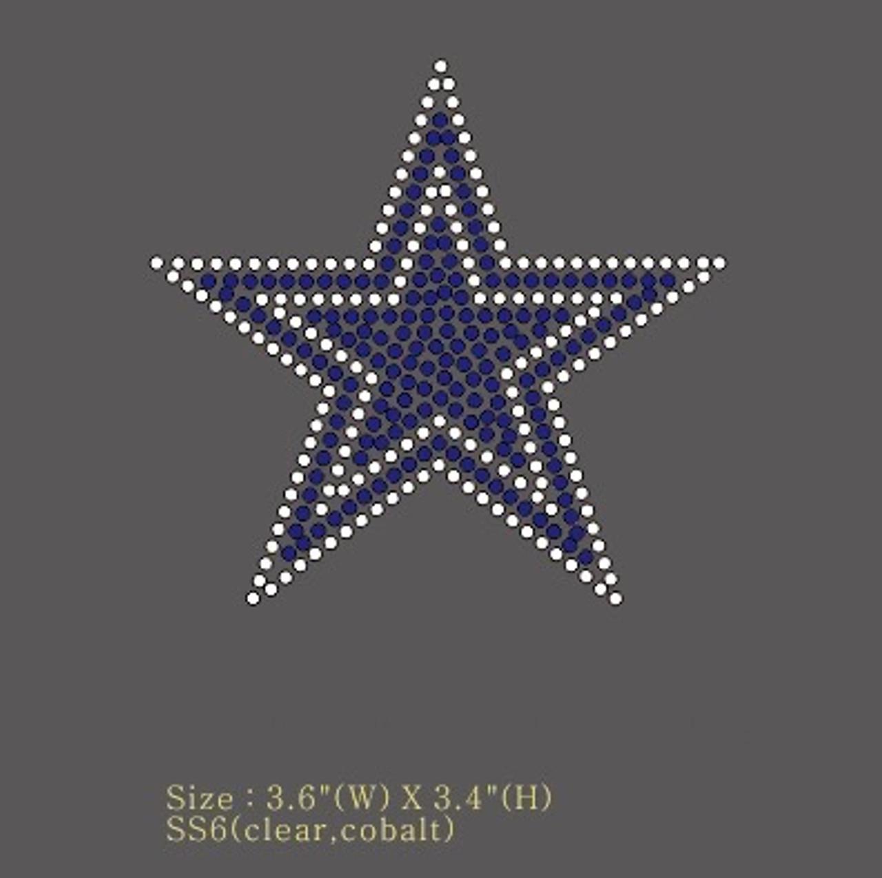 Blue Star Clear Outline 3 6 Small Rhinestone Transfer Texas Rhinestone