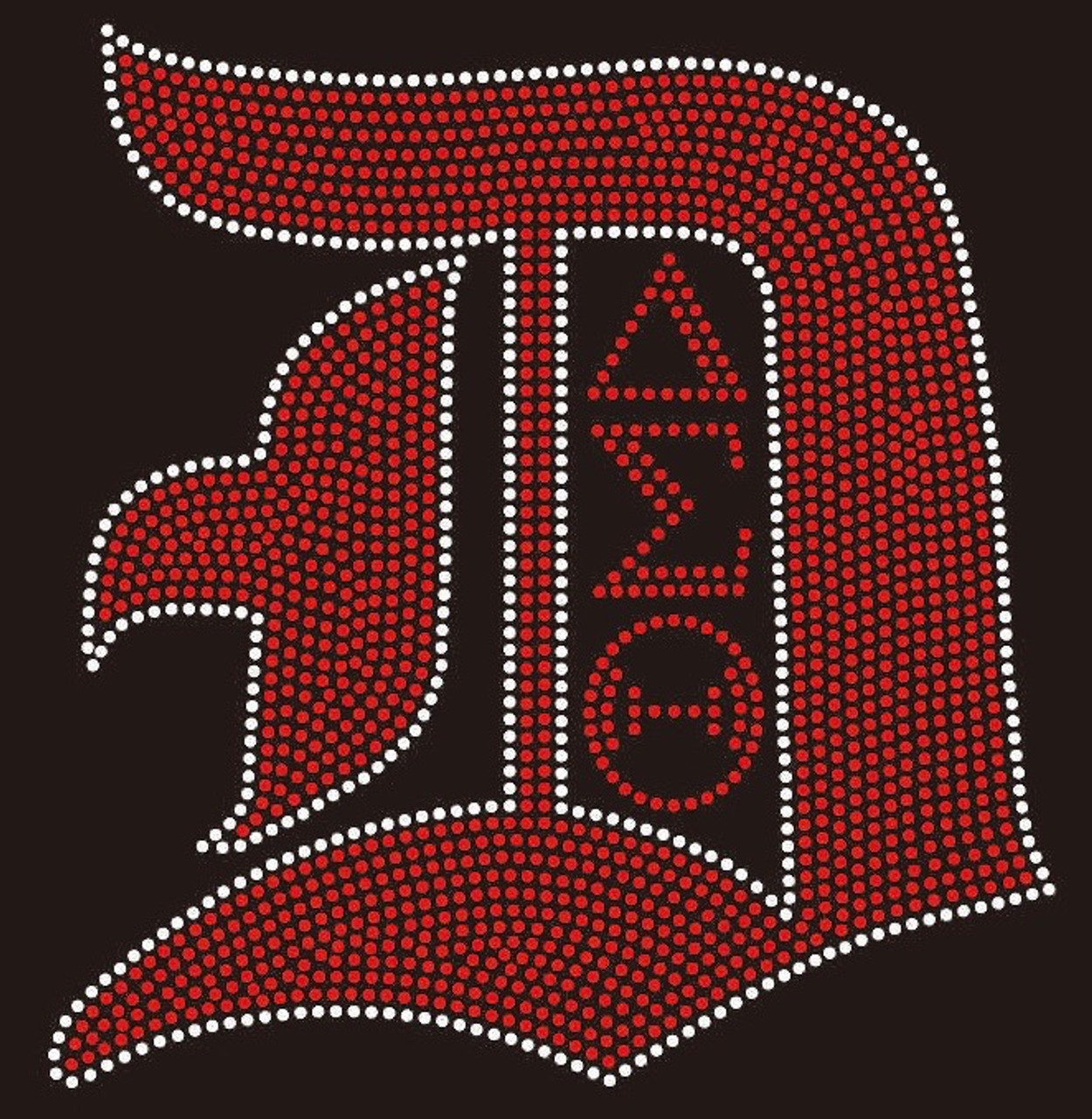 Capital D With Dst Red With Clear Outline Delta Sigma Theta Rhinestone Transfer Texas Rhinestone