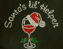 Santa's Lil Helper over Wine Glass Christmas Rhinestone Transfer