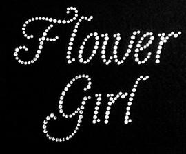 Flower Girl Text Rhinestone Transfer Iron on