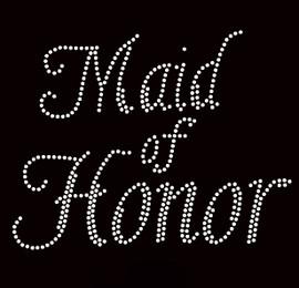 Maid Of Honor Cursive Rhinestone Transfer Iron on