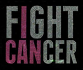 (Clear fuchsia Text) Fight Cancer  Rhinestone Transfer Iron on