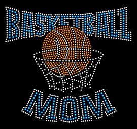 Basketball Mom Net Blue Rhinestone Transfer Iron on