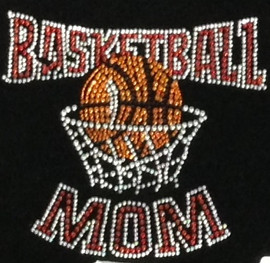 Basketball Mom Net Red Rhinestone Transfer Iron on