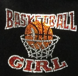 Basketball Girl Red Rhinestone Transfer Iron on
