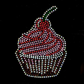 "Large Cherry CupCakes 5.5""(H) x 4""(W) Rhinestone Transfer"