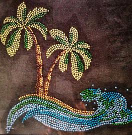 Palm Tree in the sea Tropical Rhinestone Transfer Iron on