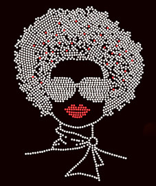 """Afro Lady With Goggles 11""""(H) x 8.4""""(W) Google Clear Rhinestone Transfer"""
