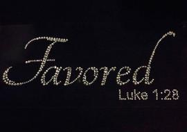 (Text) Favored Luke 1:28 Rhinestone Transfer