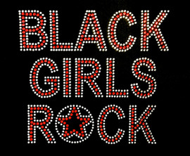 (Text) Black Girls Rock (RED) Afro Rhinestone Transfer