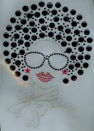 Afro Girl 13mm (Black) Rhinestone Transfer