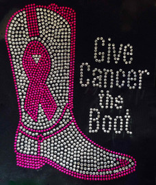 (Fuchsia) Give Cancer the Boot Rhinestone Transfer Iron On