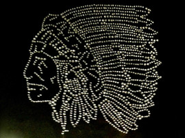 Indian Face Clear Rhinestone Transfer