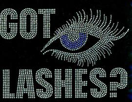 Got Lashes Blue eyes Rhinestone Transfer Iron On