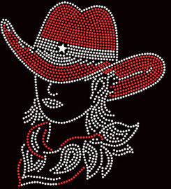 Cowgirl with hat RED White outline Rhinestone Transfer Iron On DIY