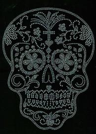 Sugar Skull Clear Rhinestone transfer iron on