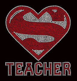 Super Teacher School Rhinestone transfer iron on