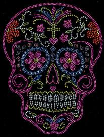 Sugar Skull Pink Rhinestone transfer iron on