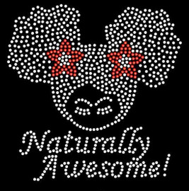 Naturally Awesome Baby (two puff balls) Rhinestone Transfer