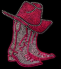 Boots and Hat Filled (FUCHSIA Hot Pink) Rhinestone Transfer
