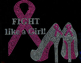 (Fuchsia) Fight like a Girl Heels Stiletto Ribbon Breast Cancer Awareness Rhinestone Transfer