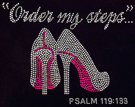 Order my steps (Fuchsia) Heels Stiletto PSALM 119:133 Religious Rhinestone Transfer