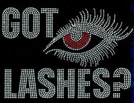 Got Lashes RED Eye Rhinestone Transfer Iron on