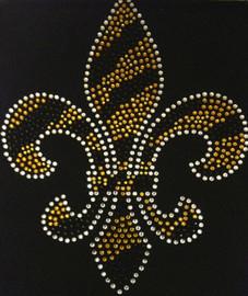 "Fleur De Lis Golden FDL 10""(H) x 8(W)"" Rhinestone Transfer Iron on"