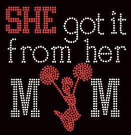 She got it from her Mom Cheer Girl (Red) Rhinestone Transfer