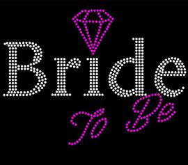 Bride To Be (with fuchsia diamond) Rhinestone Transfer