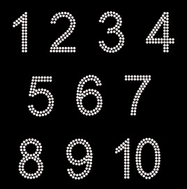 "2"" Arial Numbers (ten) (whole sheet) Rhinestone Transfer"