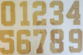 "5"" Sports Number (whole Sheet) TOPAZ (GOLDEN) Rhinestone Transfer"