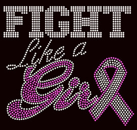 (Fuchsia Clear) Fight like a Girl Ribbon Breast Cancer Awareness Rhinestone Transfer
