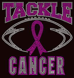 (Fuchsia) Tackle Cancer Breast Cancer Ribbon Awareness Rhinestone Transfer