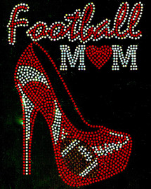 Football Mom Heel Stiletto Red Heart Rhinestone Transfer Iron on