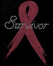 (Fuchsia) Survivor Ribbon Breast Cancer Awareness Rhinestone Transfer
