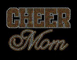 CHEER MOM Text (Golden Topaz) Rhinestone Transfer