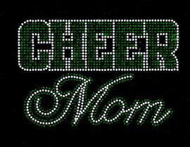 CHEER MOM Text (GREEN) Rhinestone Transfer