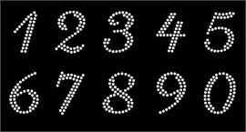 "1.25"" numbers (Cursive italic) (10 numbers Sheet) Rhinestone Transfer"