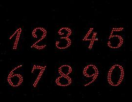 "1.25"" numbers (Cursive italic) (10 numbers Sheet) Rhinestone Transfer (red)"