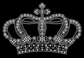 """Crown (Large) 7.6""""(W) x 5""""(H) Clear Rhinestone Transfer"""