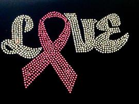 (Fuchsia) Love Breast Cancer Ribbon Awareness Rhinestone Transfer