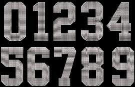 "5"" Sports Number (whole Sheet) Rhinestone Transfer"