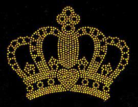 "Crown 6"" TOPAZ GOLDEN Rhinestone Transfer Iron on"