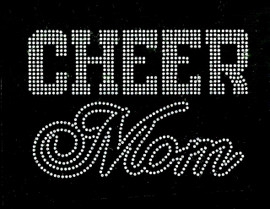 CHEER MOM Text (Clear) Rhinestone Transfer