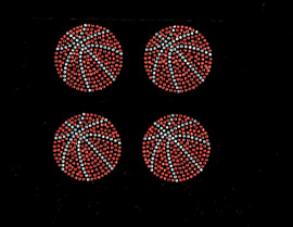 "(4 qty) 2.5"" Basketball Ball Rhinestone Transfer Iron on DIY"
