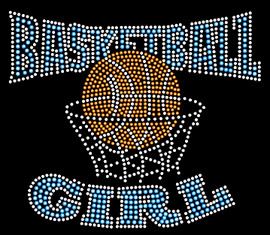 Basketball Girl BLUE Rhinestone Transfer Iron on
